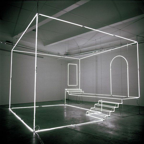 Massimo Uberti, Uno studio, 2003, neon e steel cables, 360 x 500 x 500 cm