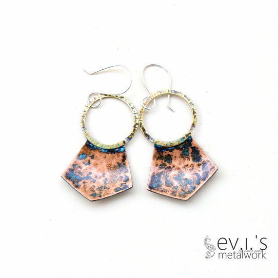 Brass Hoop Copper Pentagon Earrings Sterling Ear by evismetalwork, €23.00