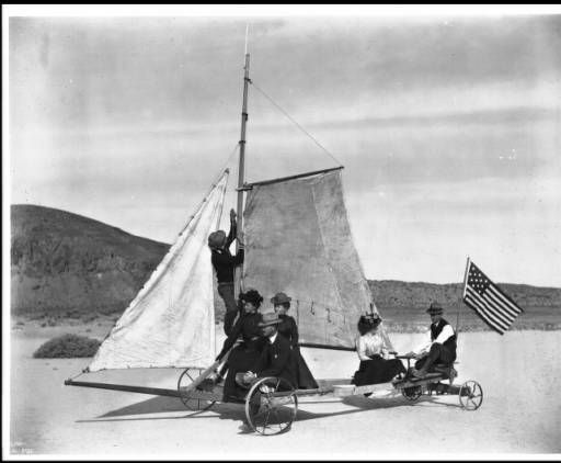 """Sailing on Rosamond Dry Lake in the """"Desert Queen"""", 1905 :: California Historical Society Collection, 1860-1960"""