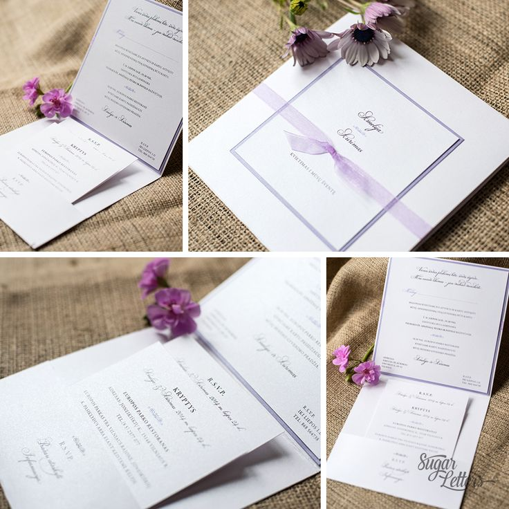 Lilac wedding invitation. An exquisite way to announce your wedding. This square invitation includes a pocket holding reply, accommodation & direction cards. #lilac #pocket #fold #rsvp #ribbon #wedding #invitation