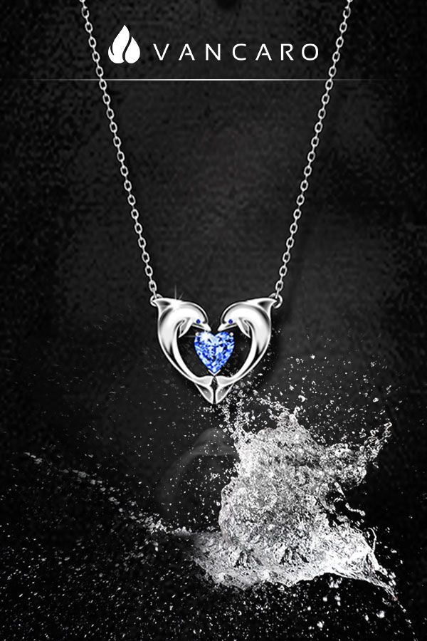 Pure 925 Silver and Rose Gold Dolphin and Calf Heart Necklace