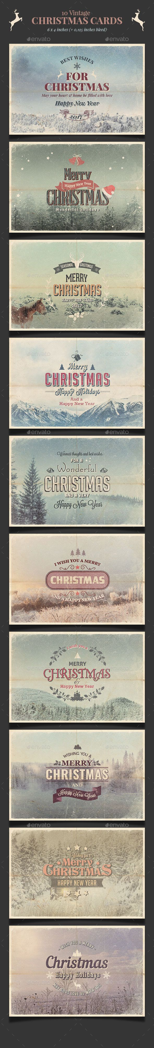10 Vintage Christmas Cards / Backgrounds PSD — PSD Template #christmas #typography • Download ➝ https://graphicriver.net/item/10-vintage-christmas-cards-backgrounds-psd/18332001?ref=pxcr
