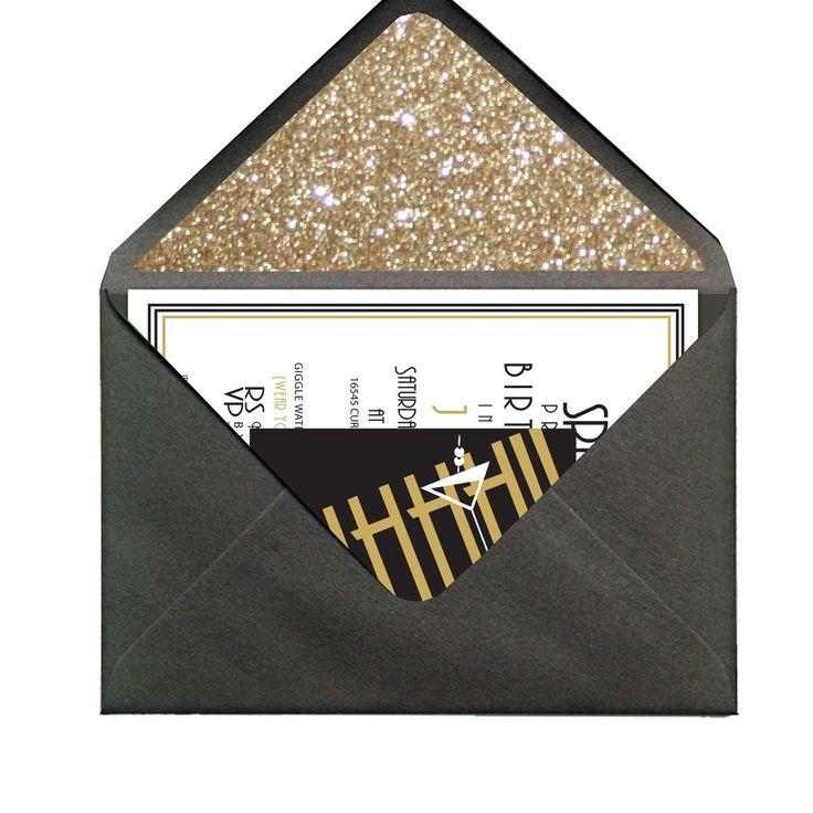 Speakeasy Invitations - Love the glitter envelope lining