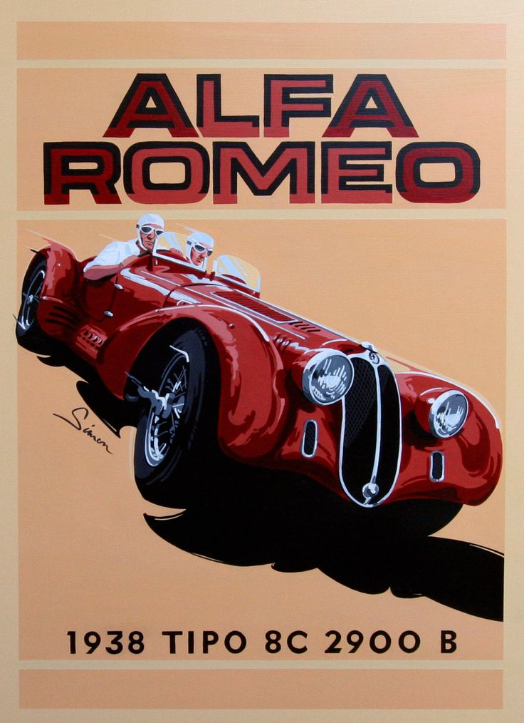 Alfa Romeo 8C 2900 B, Mille Miglia, by © Dennis Simon. This poster is available at centuryofspeed.com
