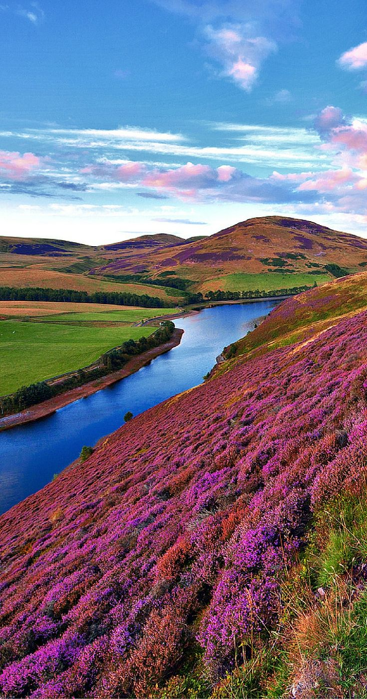 The green valley river mountains in the Pentland Hills of Scotland!