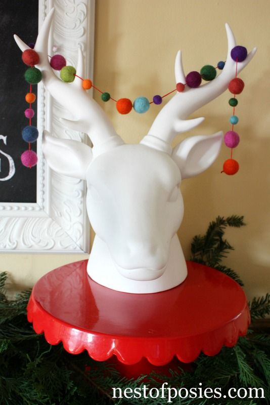 Reindeer Head with Felt Ball Garland