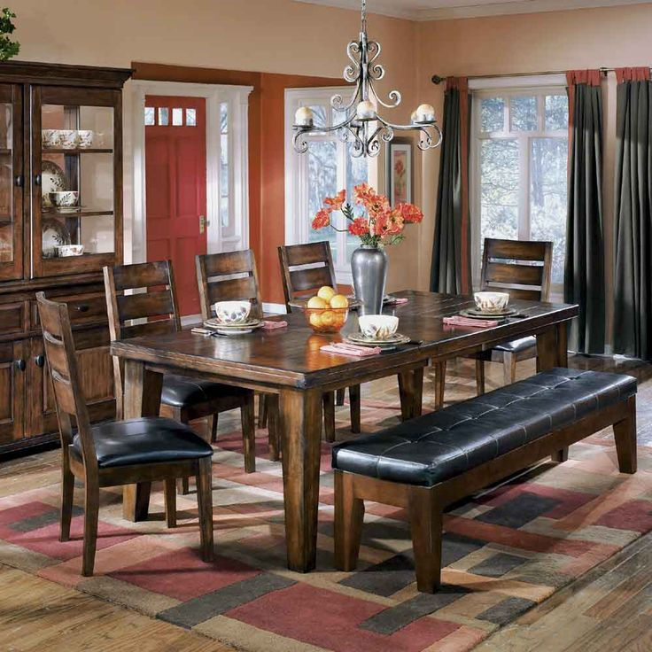 Larchmont Extension Table 5 Chairs And 1 Bench By Signature Design Ashley Dining Room