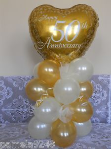 50th Anniversary Table Decorations | NEW GOLDEN 50TH ANNIVERSARY BALLOON TABLE DISPLAY | eBay