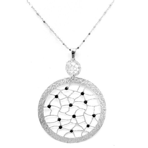 "Frederic Duclos sterling silver, circle lace with black spinel pendant that hangs on an 18"""" inch sterling silver adjustable link chain."