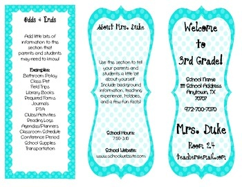 Customizable tri fold classroom brochure all you do is fill in your classroom information and for Teacher brochures