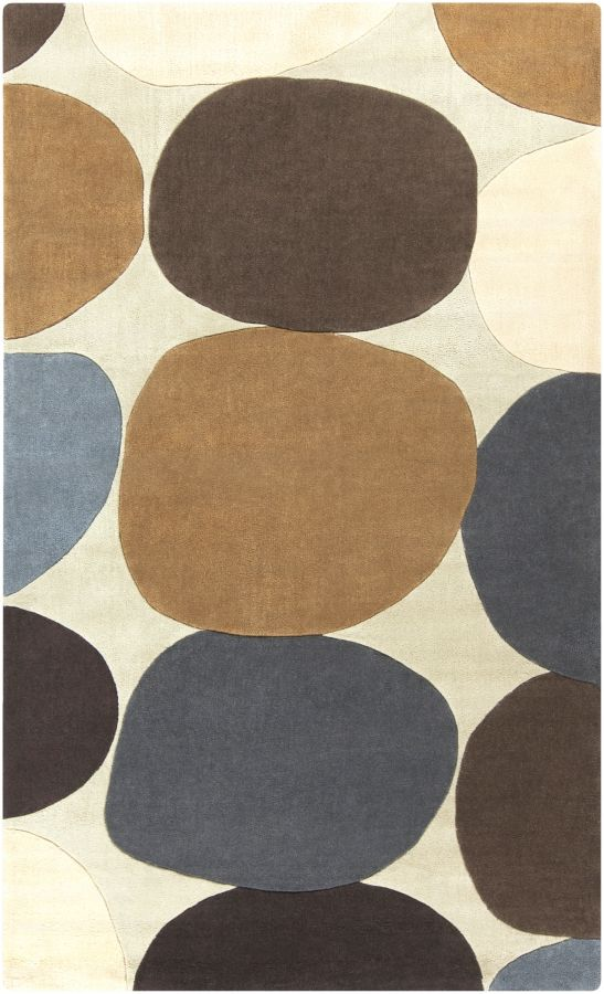 Cosmopolitan Beige Chocolate Gold Polyester Area Rug (L 96 X W 60)