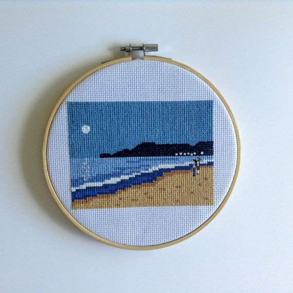 Completed Custom Cross Stitch of photo of your by peaceandstitches #custom #crossstitch #cross #stitch #engagement #wedding #anniversary #gift #present #unique #personalized #cotton #linen