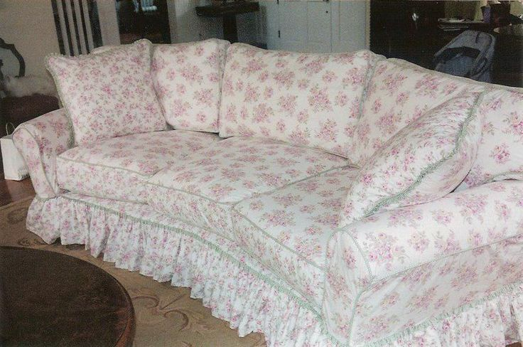 Sofa slipcover made from Shabby Chic duvet covers from Target