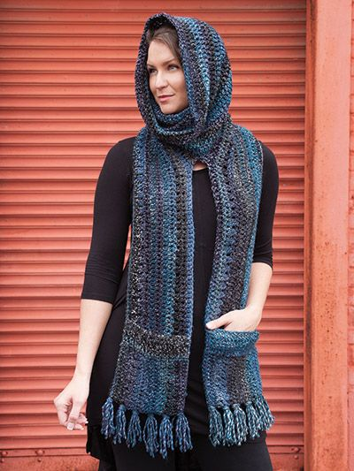Crochet a hooded scarf with pockets pattern
