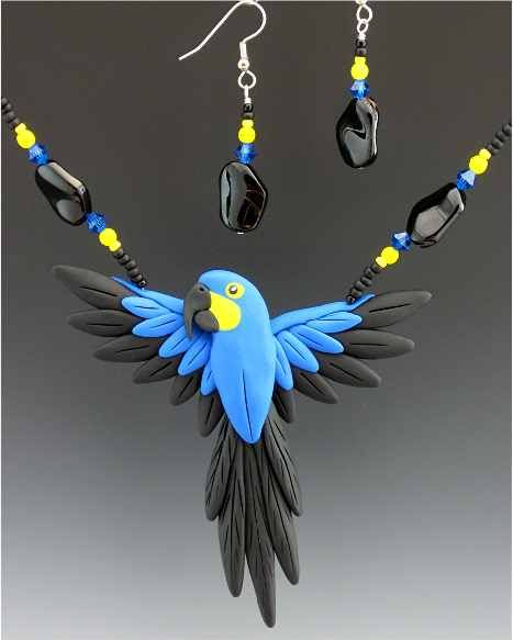 Macaw parrot necklace earrings-bird jewelry by dawn
