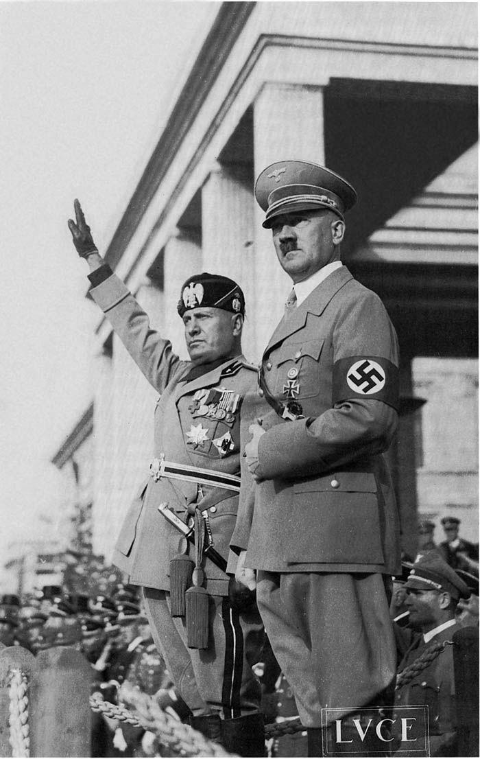 Benito Mussolini (left) and Adolf Hitler (right)