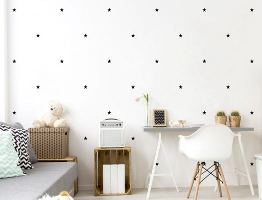 Schwarze Wandsticker Sterne - 60 Stück