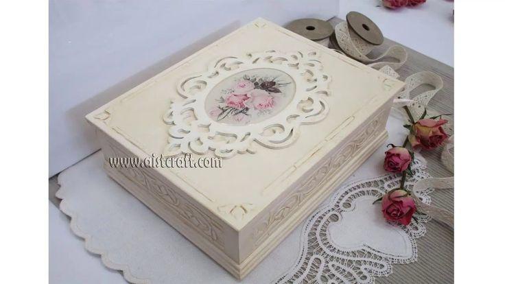Tutorial Decoupage scatola legno in stile Shabby Chic. Decoupage su legn...