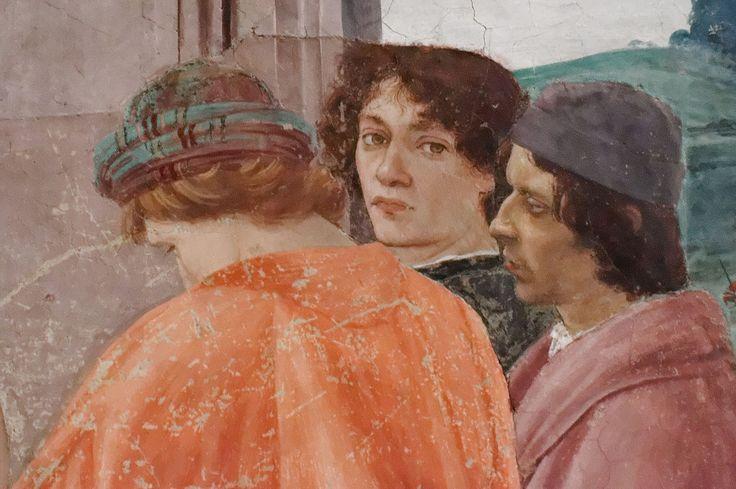 """12- Filippino Lippi - La crocifissione di San Pietro (dettaglio al centro """"ritratto di Sandro Botticelli"""") - affresco - 1482-1485 circa - Cappella Brancacci (parete destra) - Chiesa Santa Maria del Carmine, Firenze"""
