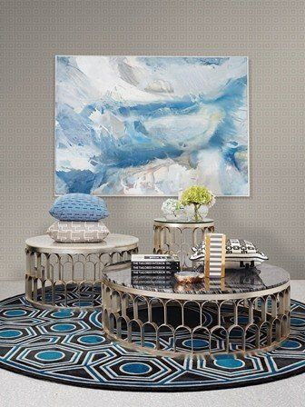 2 COFFEE TABLES. GREG NATALE FOR WORLDS AWAY SILVER COFFEE TABLE MEDIUM