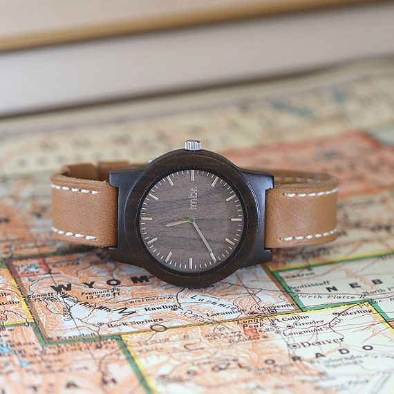 Real WOOD Watch  Mens real Wood watch with leather by tmbrwood