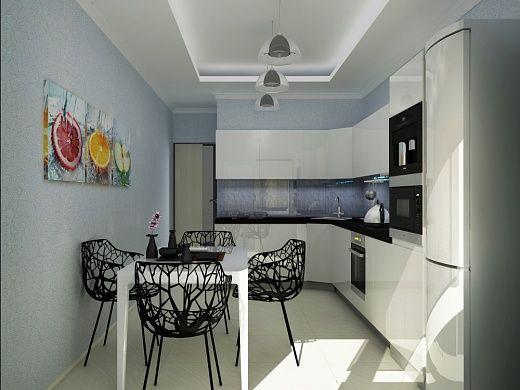 Кухня – яркая зона данной квартиры. Яркими элементами, привлекающими в первую очередь здесь внимание, являются стулья, выполненные из алюминиевого сплава весьма интересной формы, а также комплект горизонтальных постеров под манящим названием «Свежий вкус». Освещение кухни тоже заслуживает внимания. Люстры из метала черного цвета и стекла очень выгодно и интересно смотрятся на фоне в целом светлой кухни.
