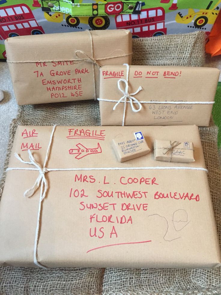 Home made parcels for post office role play