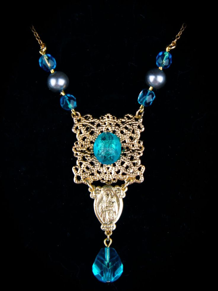 Vintage Czech Glass Necklace Gold Tone Pendant Virgin Mary Child Blue Faux Pearl