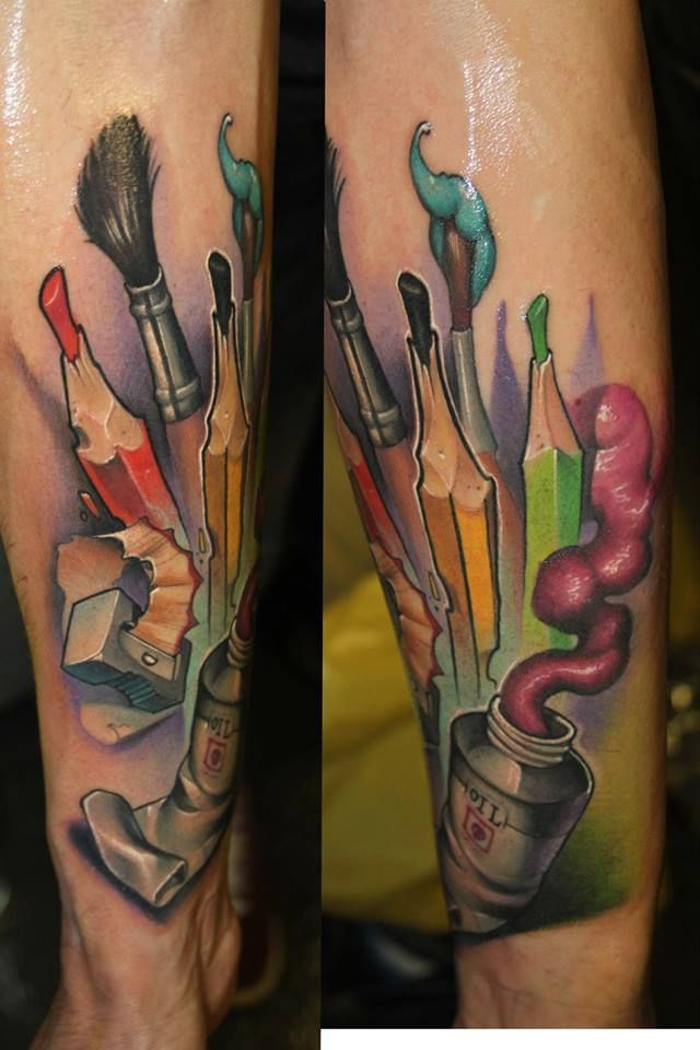 new school tattoo paintbrush - Google Search