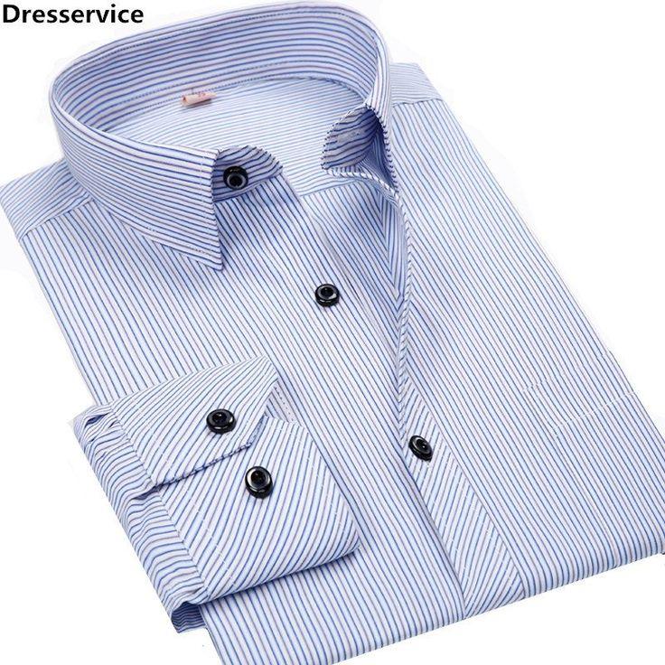 Long Sleeve Shirt Men Striped Regular Fit Turn-down Collar Non Iron Business Casual Dress Shirts W