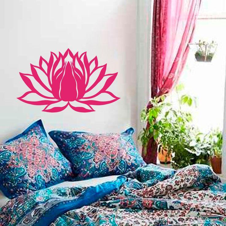 Wall Decal Lotus Flower Namaste Symbol Vinyl Sticker Murals Yoga Zen Bohemian Meditation Buddha  Art Room Bedroom Decal M-87