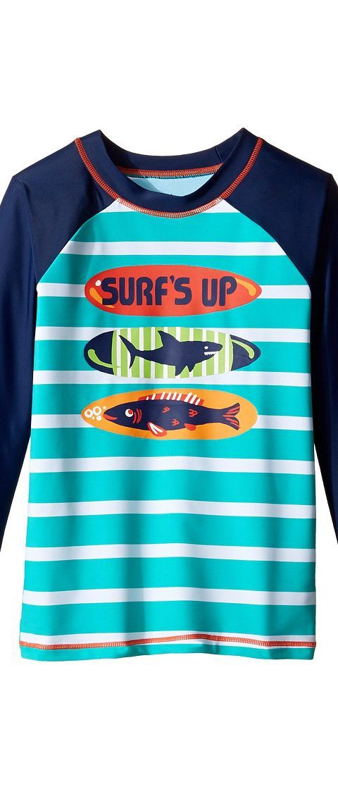 Hatley Kids Surfboards Rashguard (Toddler/Little Kids/Big Kids) (Aqua) Boy's Swimwear - Hatley Kids, Surfboards Rashguard (Toddler/Little Kids/Big Kids), BS4SURF365-440, Apparel Top Swimwear, Swimwear, Top, Apparel, Clothes Clothing, Gift, - Street Fashion And Style Ideas