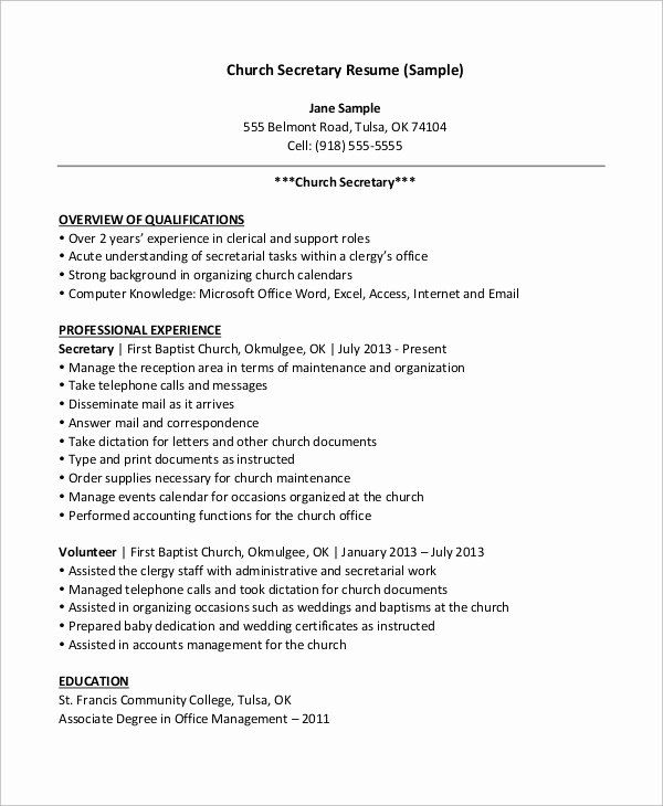 Secretary Skills For Resume Inspirational Free 9 Sample Secretary Resume Templates In Ms Word Resume Examples Sample Resume Cover Letter For Resume
