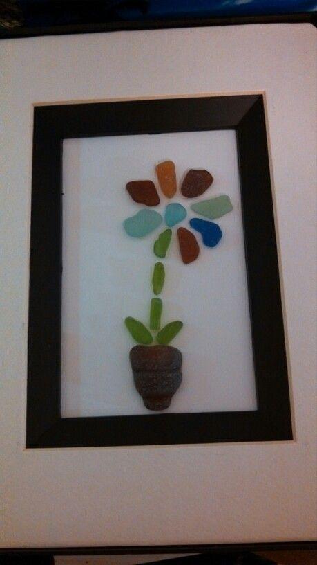 Beach Glass Flower In Pot Beach Glass Wall Art Sea Glass Crafts Sea Glass Beach Sea Glass Art