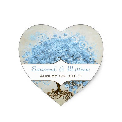 Light Powder Blue Heart Leaf Tree Wedding Seal