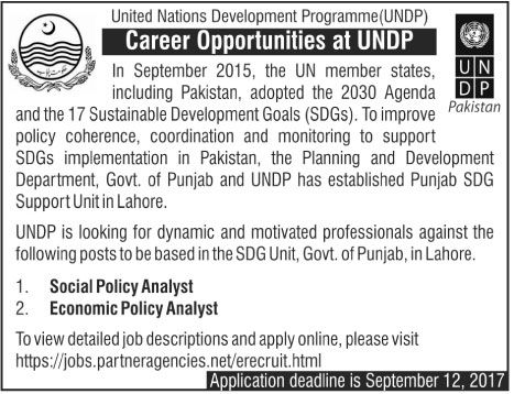 UNDP United Nations Development Program Jobs Career Opportunities Vacancies are Vacant http://ift.tt/2erODid   Jobs in Pakistan 2017 Following jobs are announced under:-  CIO Pakistan In September 2015 the UN member states including Pakistan adopted the 2030 Agenda and the 17 Sustainable Development Goals (SDGs). To improve policy coherence coordination and monitoring to support SDGs implementation in Pakistan the Planning and Development Department Lahore & Govt. of Khyber Pakhtunkhwa and…