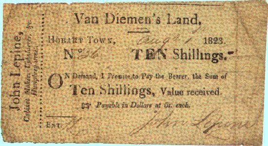 Van Diemen's Land, Hobart Town. Ten Shillings, Value received. (1 August 1823) v@e