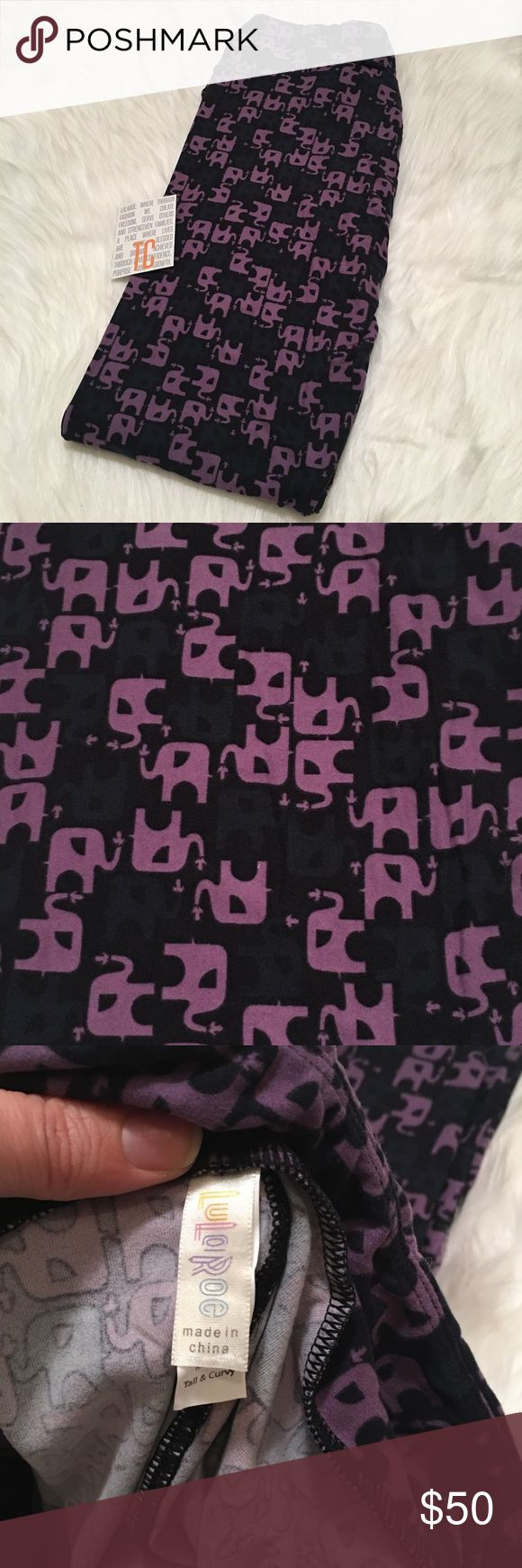 """NWT LulaRoe TC Elephant Leggings (UNICORN) **No comments on pricing. Price reflects how rare/hard to find the leggings are, amount of time spent searching for them & average sale prices of these """"unicorns"""" online.** NWT, never worn. LuLaRoe leggings. The leggings that are """"buttery"""" soft! Pattern: Black with dark grey and purple elephants squirting water! Size: Tall & Curvy (TC). See size chart. Made in: China. TRADES. Am open to *reasonable* offers on this pair. LuLaRoe Pants Leggings"""