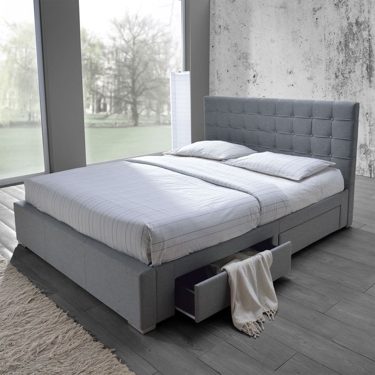 baxton studio adonis modern and grey fabric queen size storage platform bed queen size bedgrey