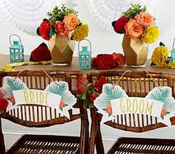 Our Kate Aspen Tropical Chic Bride and Groom Chair Signs make seating arrangements for the happy couple even more special!