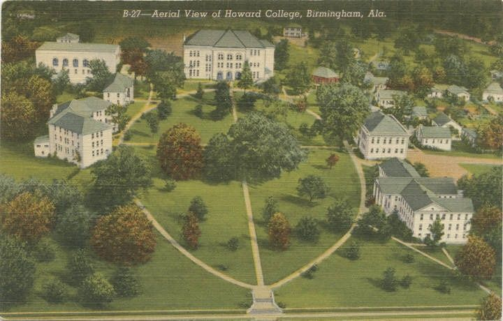 Aerial view of Howard college in birmingham Alabama Department of Archives and History