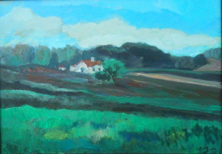 Isabel Costa (acrílico sobre tela 70x50) paisagem campestre