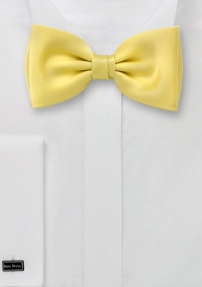 This vanilla yellow bow tie would be perfect for any navy or gray suit and/or vest