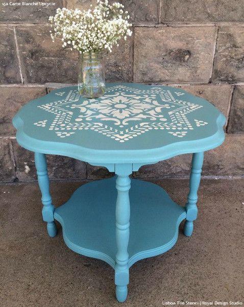 Tiffany Blue Decor Ideas - Stenciled Furniture with Lisboa Tile Design - Royal Design Studio