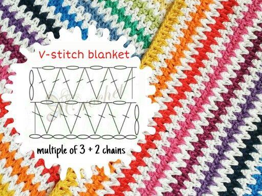 Manta de crochet colorida ponto V