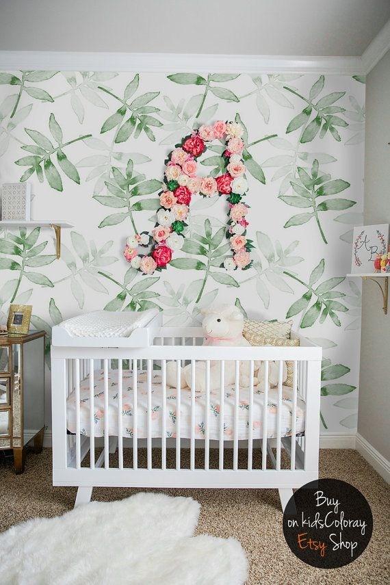 Green Leaves wallpaper Tropical Plants wall mural by KidsColoray