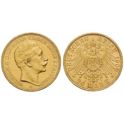 Deutsches Kaiserreich, Preussen, Wilhelm II., 20 Mark 1900, A, ss-vz/vz, J. 252: Wilhelm II. 1888-1918. 20 Mark 1900 A. J. 252;… #coins
