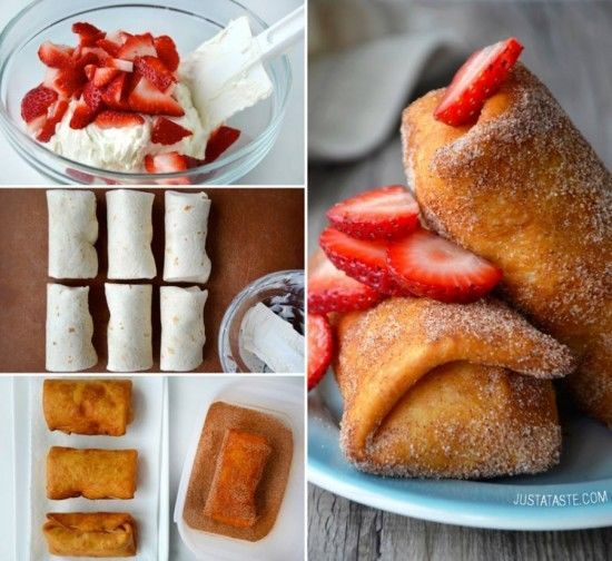 Cheesecake Chimichangas With Strawberries strawberries delicious baking recipe recipes desert recipes desert recipe food tutorials