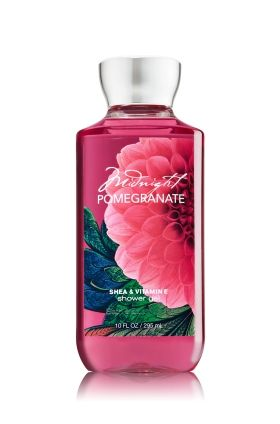 Midnight Pomegranate - Shower Gel - Signature Collection - Bath & Body Works - Wash your way to softer, cleaner skin with a rich, bubbly lather bursting with fragrance. Moisturizing Aloe and Vitamin E combine with skin-loving Shea Butter in our most irresistible, beautifully fragranced formula!