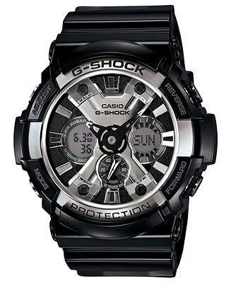 G-Shock Watch, Men's Analog-Digital Black Resin Strap 53mm GA200BW-1A - G-Shock - Jewelry & Watches - Macy's